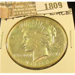 1809 _ 1921 P U.S. Peace Silver Dollar, AU.