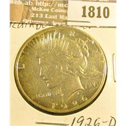 1810 _ 1926 D U.S. Peace Silver Dollar, AU.