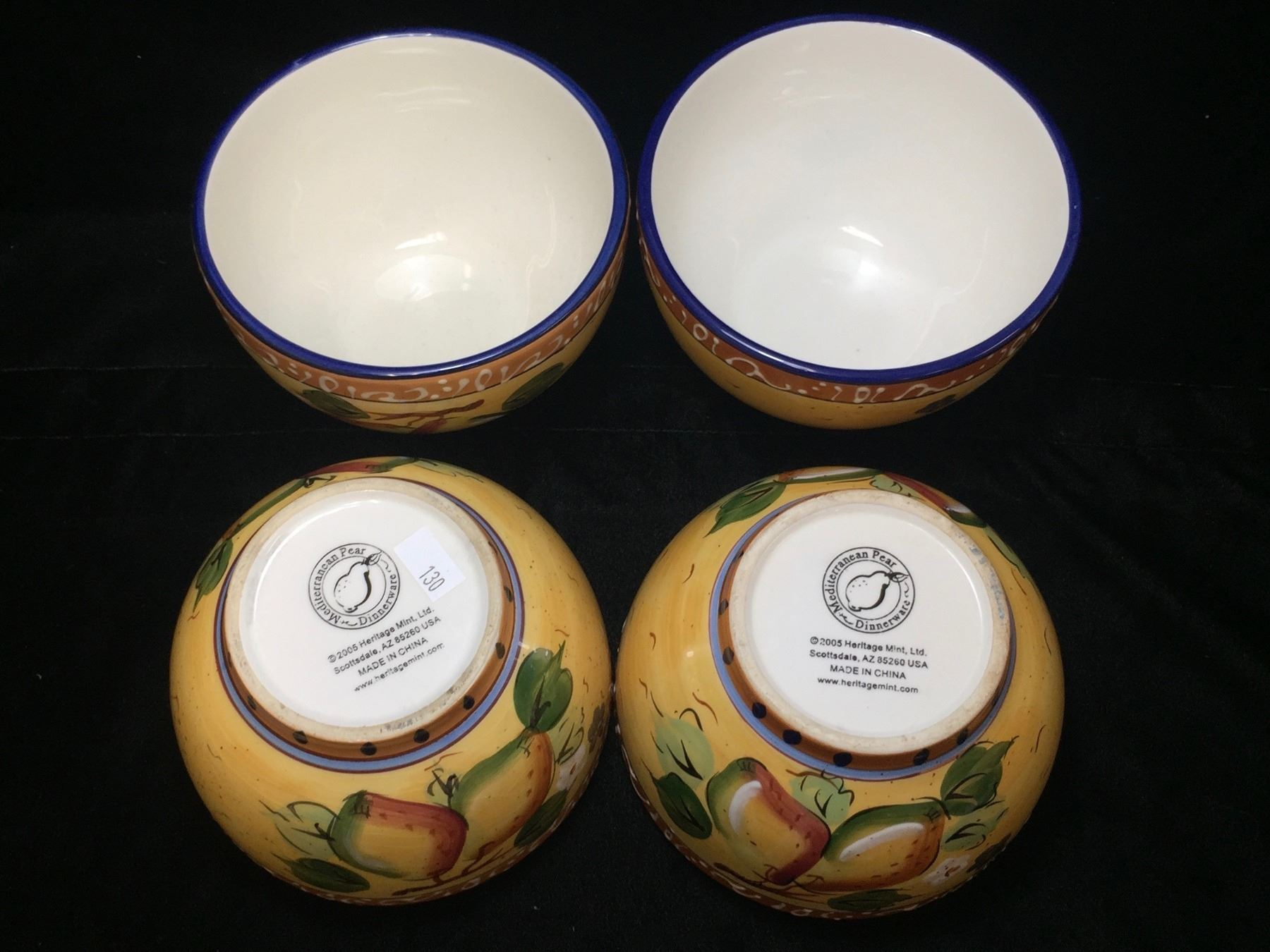 Lot of 4 - Heritage Mint Ltd  'Mediterranean Pear' Cereal Bowls