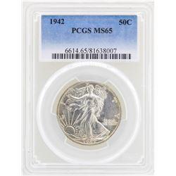 1942 Walking Liberty Half Dollar Coin PCGS MS65
