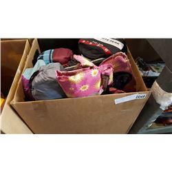 BOX OF CAMPING ITEMS SLEEPING BAGS AND TARP
