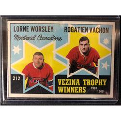 1968-69 O-PEE-CHEE OPC #212 WORSLEY/VACHON VEZINA TROPHY WINNERS