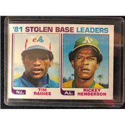 1982 Topps #164 Rickey Henderson/ Tim Raines Stolen Base Leaders