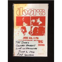 THE DOORS CONCERT ORIGINAL HAND BILL (PNE COLISEUM) JUNE 6TH 1970