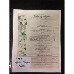 1952 HOTEL GEORGIA MENU (VANCOUVER, BC)