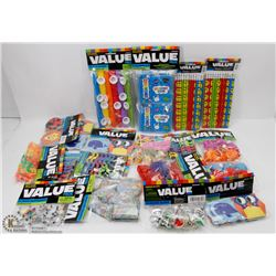 FLAT OF ASSORTED KIDS PARTY FAVORS ALL NEW IN