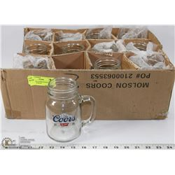 12 NEW 20Oz COORS BANQUET MASON JAR MUGS