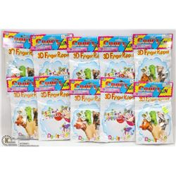 LOT OF 10 3D FINGER PUPPETS