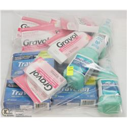 BAG OF GRAVOL, IMODIUM, AND TRAVELAN