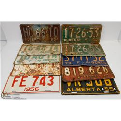10 VINTAGE LICENSE PLATES FROM YEARS 55-73