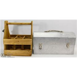 VINTAGE LUNCH BOX SOLD WITH WOODEN BOTTLE CASE