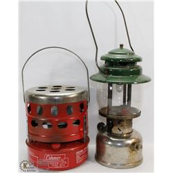 LOT OF A VINTAGE LANTERN AND HEATER .