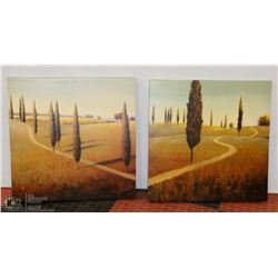 """2 GREEN SCAPE PICTURES ON CANVAS 24""""X24"""" EACH"""