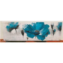 "BLUE FLOWER PRINT ON CANVAS 19""X59"""