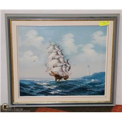 """OILS ON CANVAS """"SHIP AT SEA"""" PAINTING BY TELLER"""