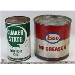 ESSO 5LB GREASE TIB & ONE QUAKER STATE QUART CANS.