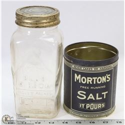 MORTONS SALT TIN & EMBOSSED BLUE RIBBON MASON JAR