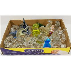 BOX OF ASSORTED GLASS ORNAMENTS.