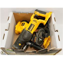 DEWALT 18 VOLT DRILL, LIGHT  & SAWZALL W/ BATTERY