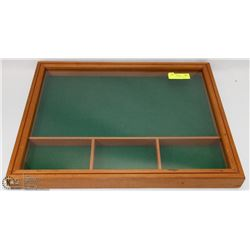 "WOOD DISPLAY CABINET (21.5""H X 17""L X 2""W) -"