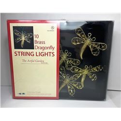 20)  STRING OF 10 BRASS DRAGONFLY
