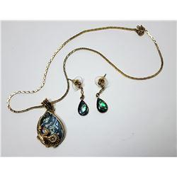 24) GOLD TONE & BLUE-GREEN ABALONE