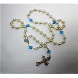 15)  PEARL & BLUE CRYSTAL ROSARY