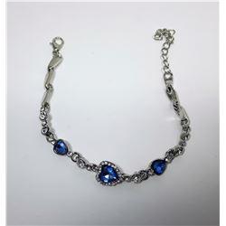 16)  BLUE & CLEAR CRYSTAL HEART