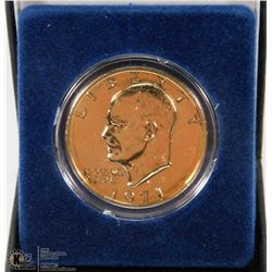 CASED GOLD PLATED IKE DOLLAR.