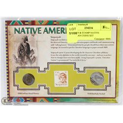 3PC COIN & STAMP NATIVE AMERICAN COINS SET