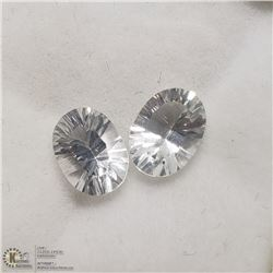 32) 2 GENUINE COLORLESS TOPAZ, OVAL OPTIC CUT,