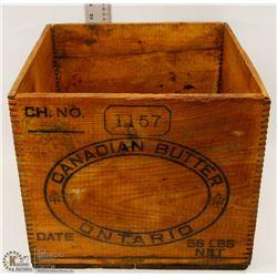 VINTAGE WOODEN BUTTER BOX.
