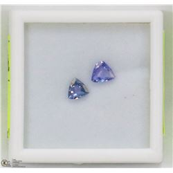 9) 2 GENUINE TANZANITES, TRILLION CUT, APPROX