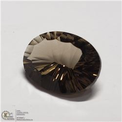 80) SMOKY QUARTZ, OPTIC CUT, OVAL, APPROX 8 CTS