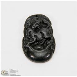#111-BLACK OBSIDIAN JADE PENDANT CHINESE ZODIAC