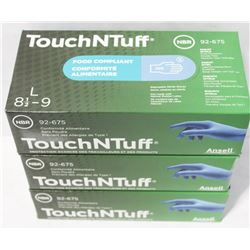 3 BOXES ANSELL TOUCH'N'TUFF FOOD COMPLIANT NITRILE
