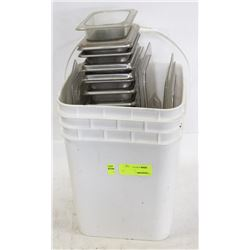 "PAIL OF STAINLESS STEEL 1/8"" INSERTS AND LIDS"