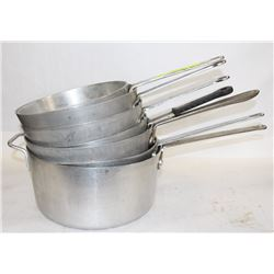 GROUP OF SEVEN COMMERCIAL ALUMINUM SAUCE PAN