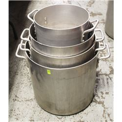 GROUP OF FOUR COMMERCIAL ALUMINUM STOCK POTS