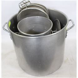 LOT OF FOUR COMMERCIAL STOCK POTS W/