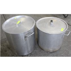 TWO LARGE COMMERCIAL ALUMINUM STOCK POTS W/ LID