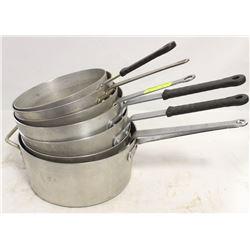 LOT OF SEVEN COMMERCIAL ALUMINUM SAUCE PANS