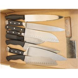 FLAT OF KITCHEN KNIVES W/ NAMES LIKE CUISINART,