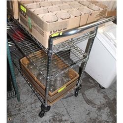 NSF 3-TIER COMMERCIAL WIRE SHELF ON WHEELS