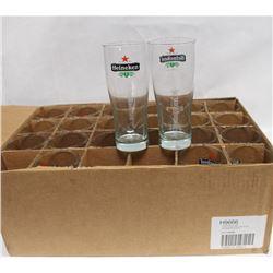CASE WITH 24 HEINEKEN BRANDED 20 OZ NEW GLASSES