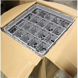 NEW FIVE 20 CUP GREY CAMBRO DISHWASHING RACK