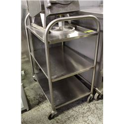 "STAINLESS STEEL 3 SHELF BUS CART 26"" X 18"" X 30""H"