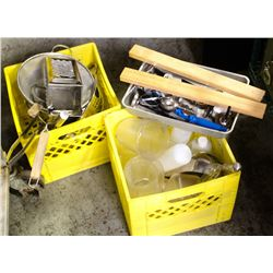 2 MILK CRATES OF MISC. RESTAURANT UTENSILS &