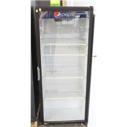 SINGLE DOOR UPRIGHT SODA BOTTLE COOLER ON WHEELS
