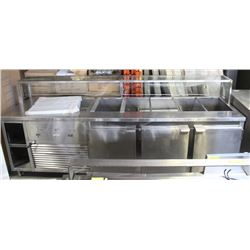 9 FT THREE-DOOR REFRIGERATED PREP DRAW GLASS BACK